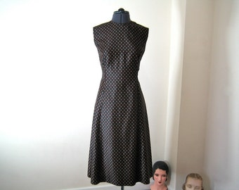 1970s dress & bolero / fabulous unworn black polished cotton with tiny print / flattering A-Line M-L