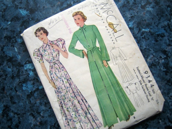 """RESERVED 1930s robe pattern - 1937 McCall - size 36"""""""