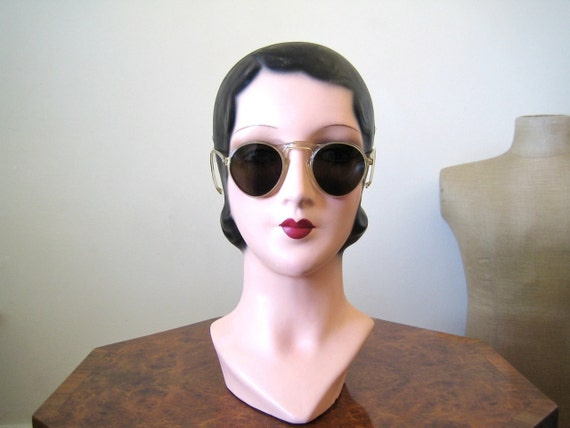 1930s sunglasses / clear framed sunglasses / amazing condition, flattering shape
