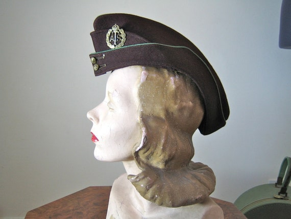 RESERVED 1940s ats Side Cap / Original WWII private purchase A.T.S. cap in a large size / amazing shape