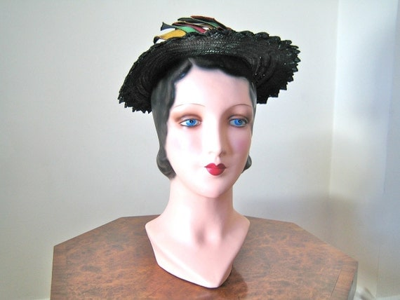 SALE 1940s hat / beautiful black straw with bows in red, green and yellow