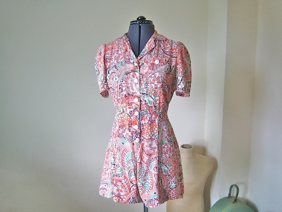 """RESERVED 1940s playsuit / fabulous crazy print cotton playsuit with matching skirt / 28"""" waist"""