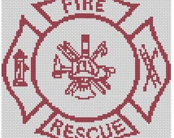 Fire Rescue Logo Cross Stitch E-Pattern