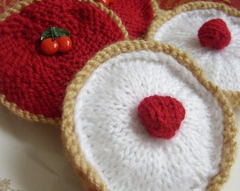 easy KNITTING PATTERN for CHERRY BAKEWELL and JAM TART pdf