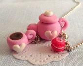 it's tea time- tea pot and cup necklace