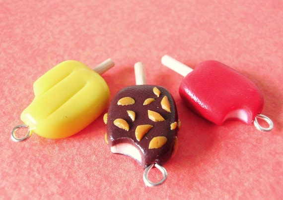 sundae CRUNCH BAR popsicle pedant/charm - handmade in polymer clay