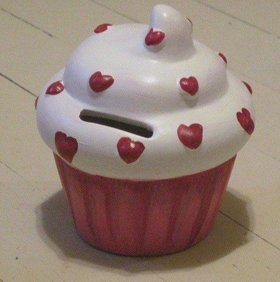 Hand painted ceramic cupcake piggy bank free shipping for How to paint a ceramic piggy bank