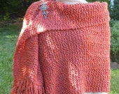 Hand Knit Fringed Shawl in Soft Coral