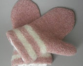 Hand Knit and Felted Double Cuff Merino Wool Mittens
