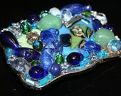 Atlantic - Dichroic glass and multi media belt buckle