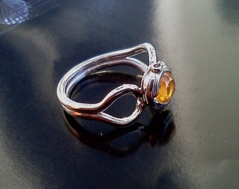 Mexican Fire Opal and Silver Ring    aka summer citrus