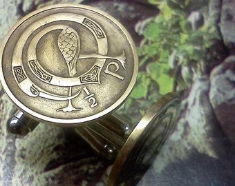 Irish Half Pence The Original Irish coin Cufflink Circulated coins straight from Ireland 1971 to1988 random dates