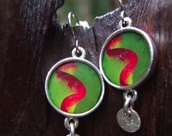 Jewelry, Earrings, Silver, Glass, Green, Turquoise. Green and red earrings with silver bead. Jewelry by stefaniekraus on Etsy