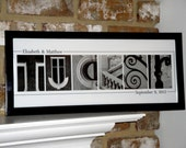 Name Photography- Alphabet Letter Photography- Personalized Alphabet Photo Letter Art 8x20- Black and White- UNFRAMED Name- Wedding
