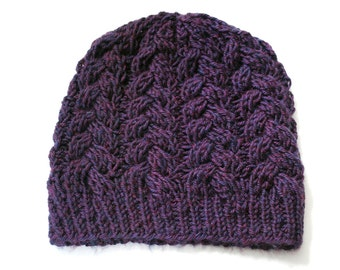 Braided Cables Hat in Plum