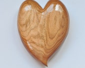 Valentine Hand Carved Heart in Butternut Wood - SALE SHOP CLOSING, Wood Carving for Home Decor or Wedding Gift