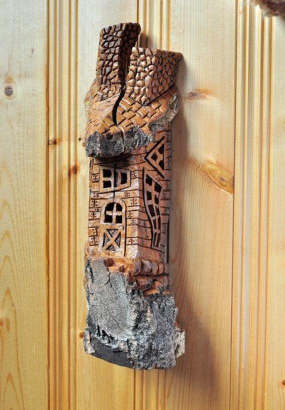 Cottonwood Bark Whimsical House Carving