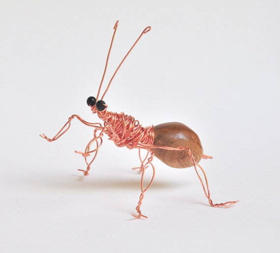 Insect Wire Art with Hand Carved Butternut, SALE SHOP CLOSING,  Wood Carving Body for Home Decor or Birthday Gift