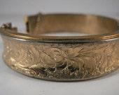 Vintage Florentine Gold Tone Wide Bracelet