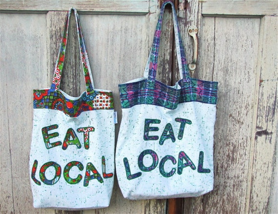 Eat Local Market XL Shopper - Appliqued Farmer's Market Tote Bag - OOAK