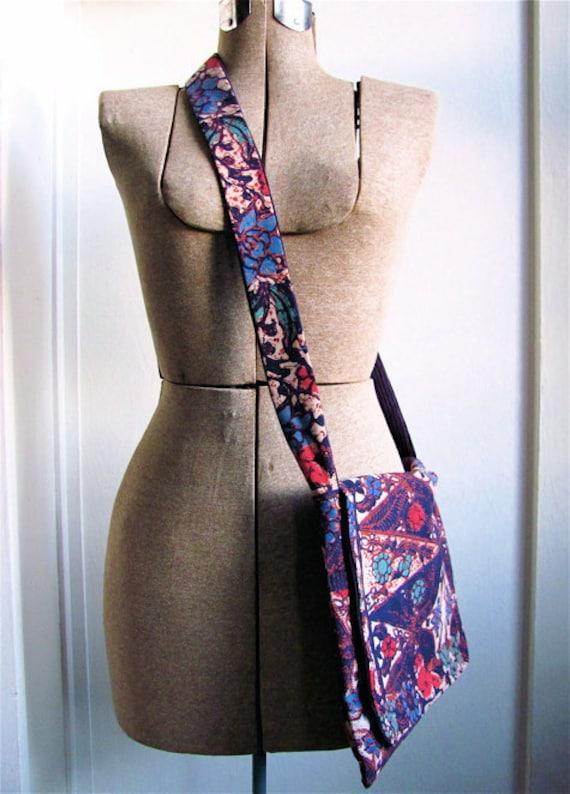 Happy Hippie Batik Cross Body Purse - Purple Boho Tribal Inspired Cotton Medium Hip Bag