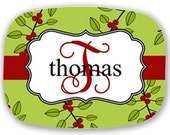 Personalized Melamine Platter (Green Holly)