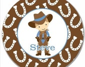 """Personalized 10"""" Melamine Plate--Cowboy Light Brown"""