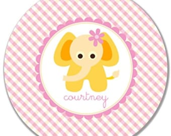 Personalized Melamine Plate-Yellow Elephant