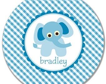 "Personalized 10"" Melamine Plate-Blue Elephant"