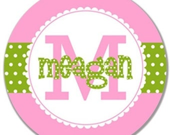 Personalized Melamine Plate--Polka Dot Stripe with Initial
