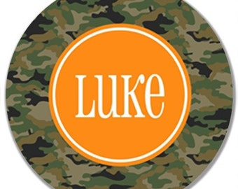 Personalized Melamine Plate--Camo Plate