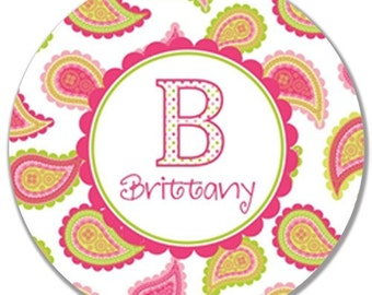 Personalized Melamine Plate-Paisley Power Initial
