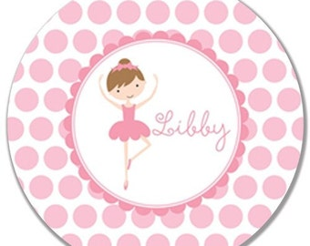 Personalized Melamine Plate or Bowl--Brunette Ballerina