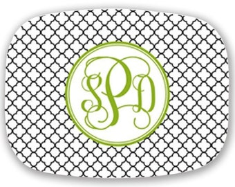 Personalized Melamine Platter-Quatrafoil Monogram