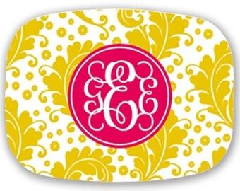 Personalized Melamine Platter-Flourish Yellow and Pink