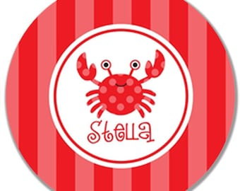 """Personalized 10"""" Melamine Plate--Crabby Pink and Red"""