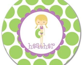 "Personalized 10"" Melamine Plate-Pool Girl (Purple/Brunette)"