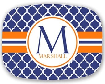 Personalized Melamine Platter--Modern Quatrefoil with Stripe (Navy and Orange)