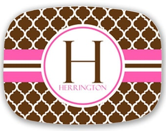 Personalized Melamine Platter--Modern Quatrefoil with Stripe (Brown and Pink)