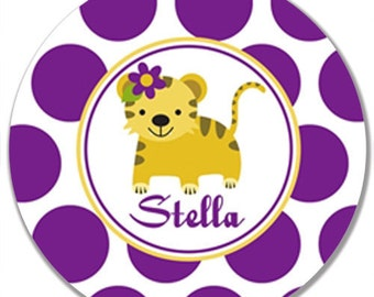 "Personalized 10"" Melamine Plate--Girly Tiger"