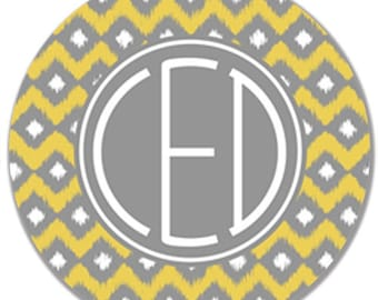 """Personalized Melamine 10"""" Plate- Yellow and Grey Ikat"""