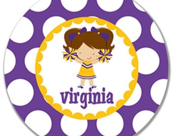 Personalized Melamine Plate or Bowl-Purple and Gold Cheerleader with Brunette Pigtails