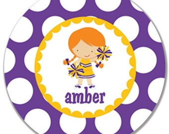Personalized Kids Melamine Plate-Purple and Gold Cheerleader with Red Pigtails