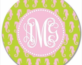 Personalized Kids Melamine Plate-Monogram Seahorse Pink and Green