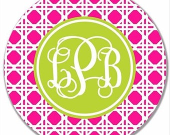 Personalized Melamine Plate-Cane Monogram Hot Pink and green