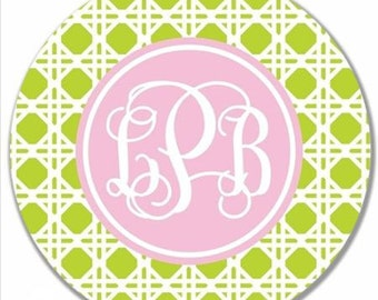 Personalized Melamine Plate-Cane Monogram Green and Pink
