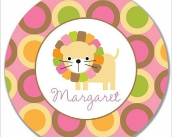 """Personalized 10"""" Melamine Plate--Mod Lion Girl"""