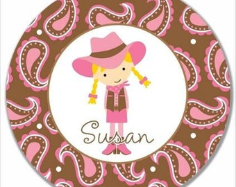 "Personalized 10"" Melamine Plate--Cowgirl Blonde"