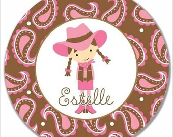"Personalized 10"" Melamine Plate--Cowgirl Dark Brown"