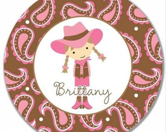 """Personalized 10"""" Melamine Plate--Cowgirl Light Brown"""
